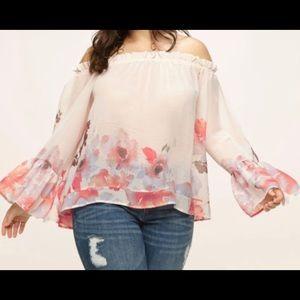 Off the shoulder sheer floral top